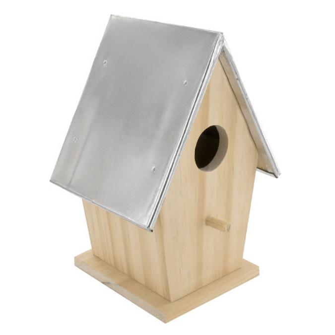 Nichoir en bois avec toit en métal 19 cm