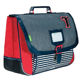 Cartable 38 cm Les Chinés Teddy  Gris / Rouge