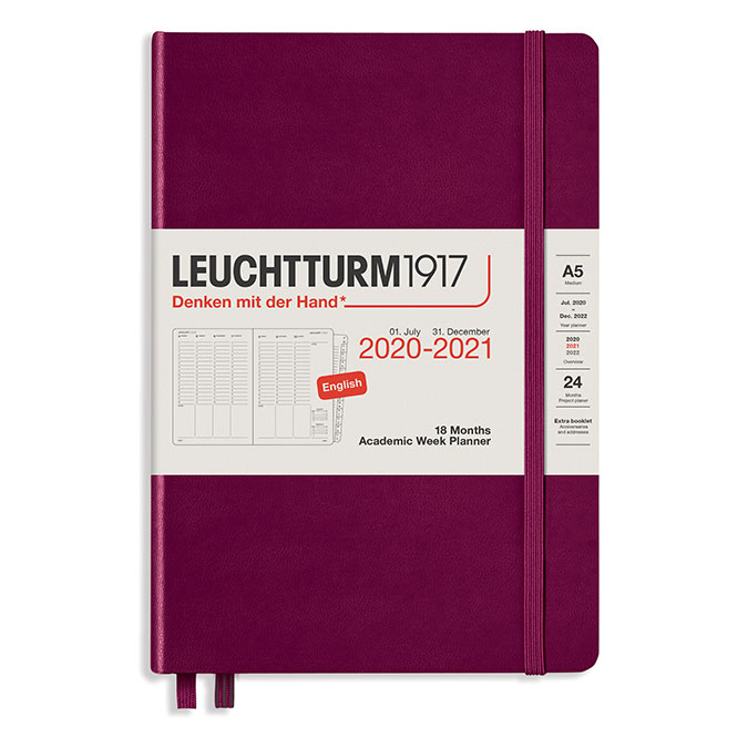 Planificateur semainier 18 mois 2021 A5 Port red