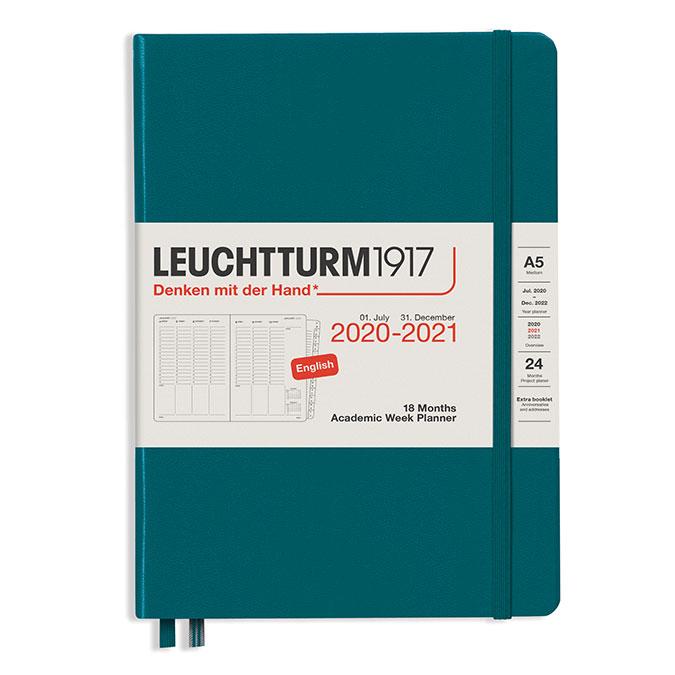 Planificateur semainier 18 mois 2021 A5 Pacific green