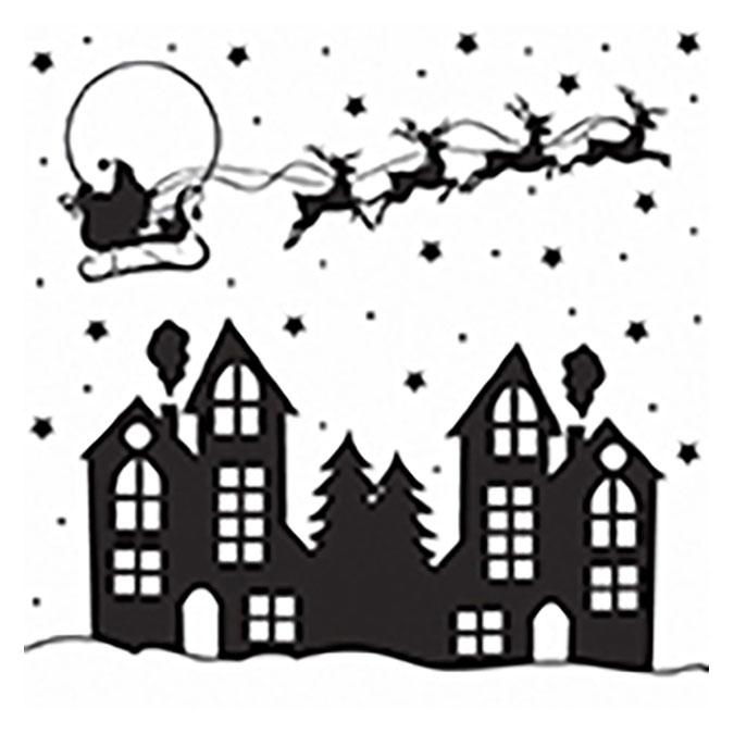 Tampon bois Soirée de Noël - F