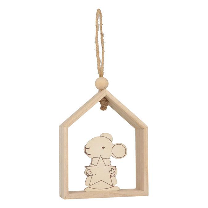 Décoration de noël en bois Maison souris étoile