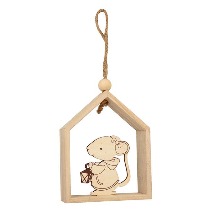 Décoration de noël en bois Maison souris lanterne