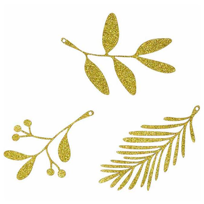 Décoration en papier doré pailleté 9 pcs