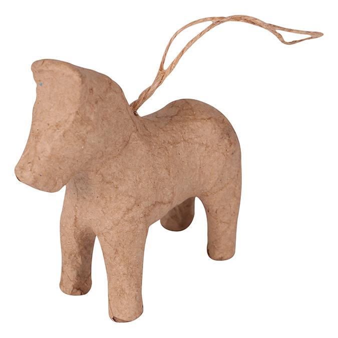 Cheval de Dalécarlie à suspendre en papier mâché 8 cm