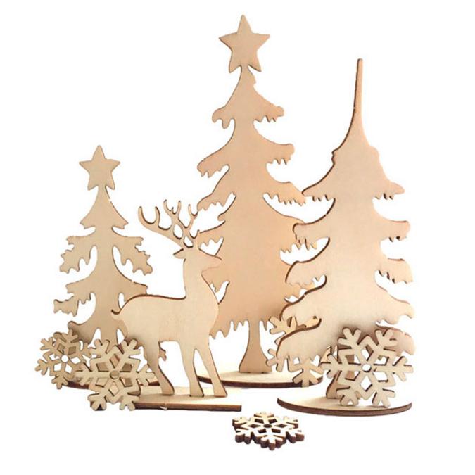 Décor de forêt hivernale en bois 17,5 x 22,5 cm