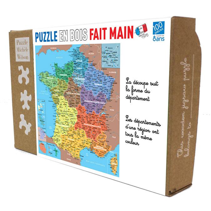 Puzzle en bois Carte de France départements 100 pièces