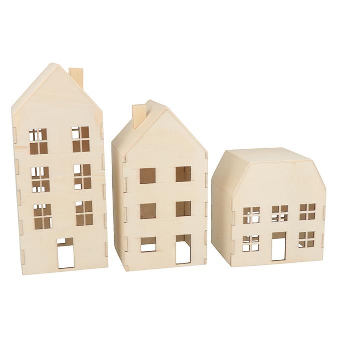 Maisons en bois fermées 3 pcs