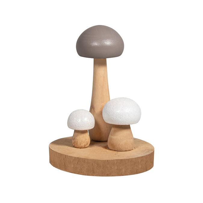 Champignons en bois 9.5 x 9.2 x 11.5 cm