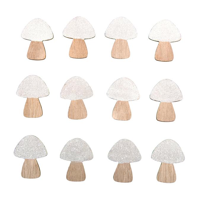 Miniature en bois Champignons 3.1 x 4 cm 12 pcs