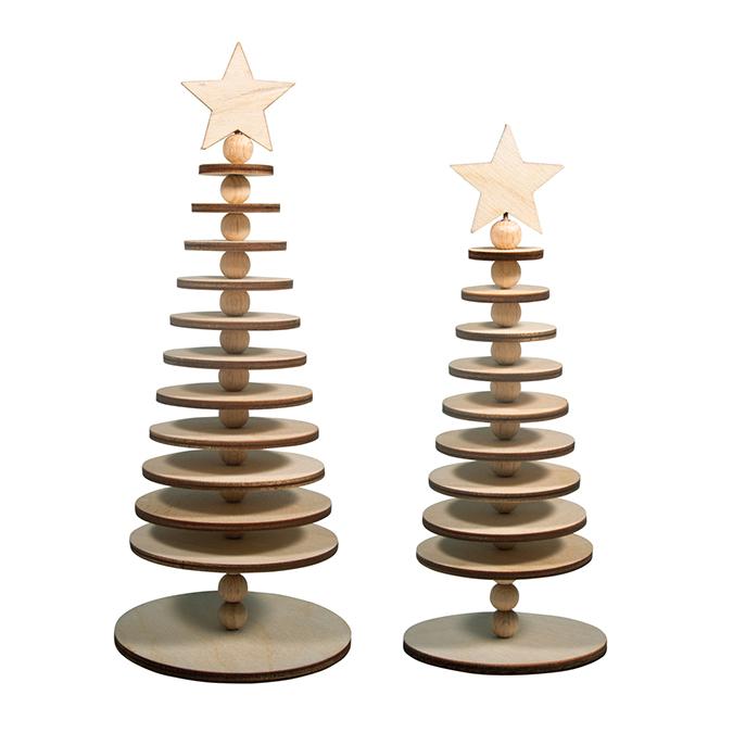 Kit de décoration Arbre en bois à poser 2 pcs