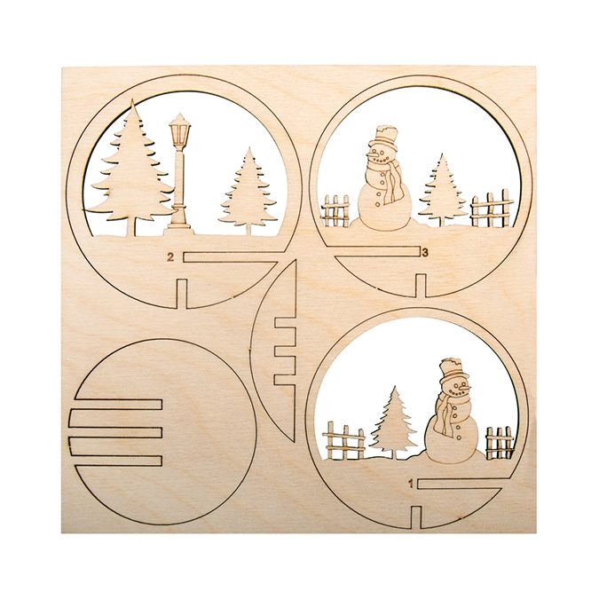 Kit en bois pour boule acrylique de 8 cm Bonhomme de neige