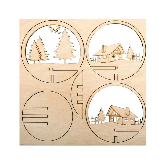 Kit en bois pour boule acrylique de 8 cm Cabane