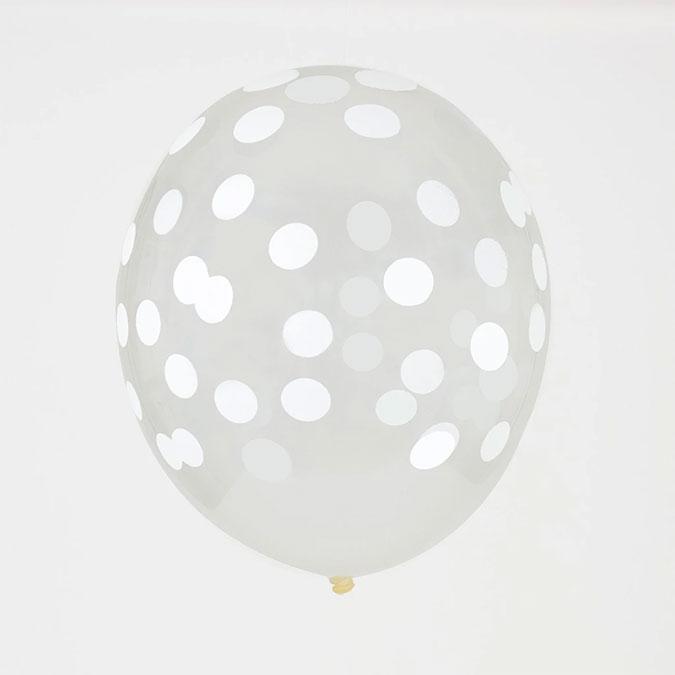 Ballon en latex Confetti blanc 5 pcs
