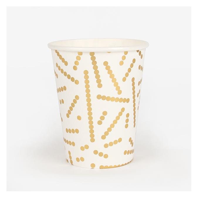 Gobelet en carton Perle dorée 8 pcs