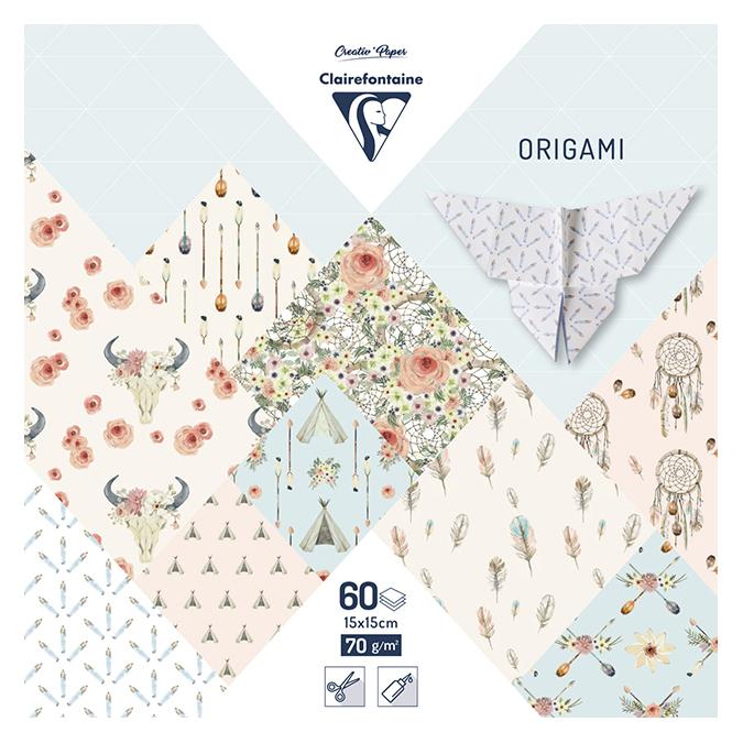 Papier origami Bohème chic 60 feuilles 15 x 15 cm