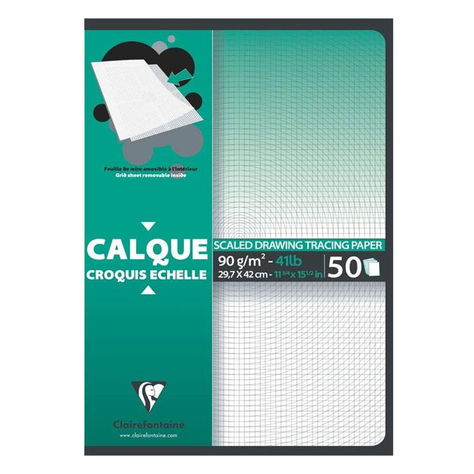 Bloc de papier calque Croquis échelle 92 g/m² 50 feuilles