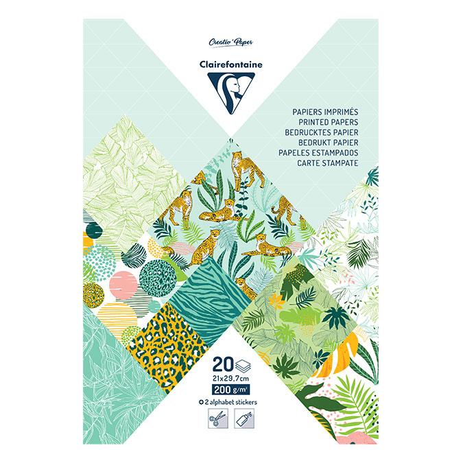 Bloc de papier imprimé Fraîcheur exotique A4 20 feuilles