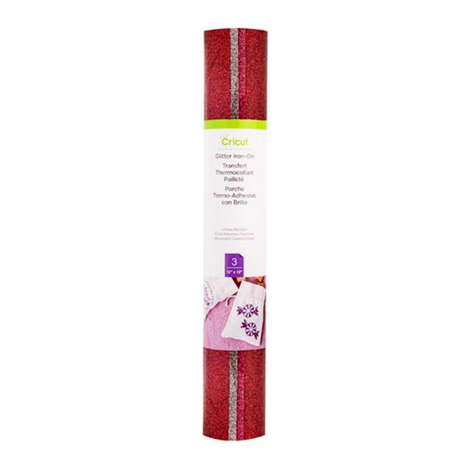 Transfert thermocollant pailleté Argent Rose Rouge 30,5 x 30,5 cm