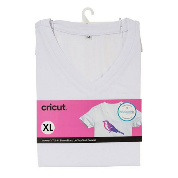 T-shirt blanc col V Taille XL
