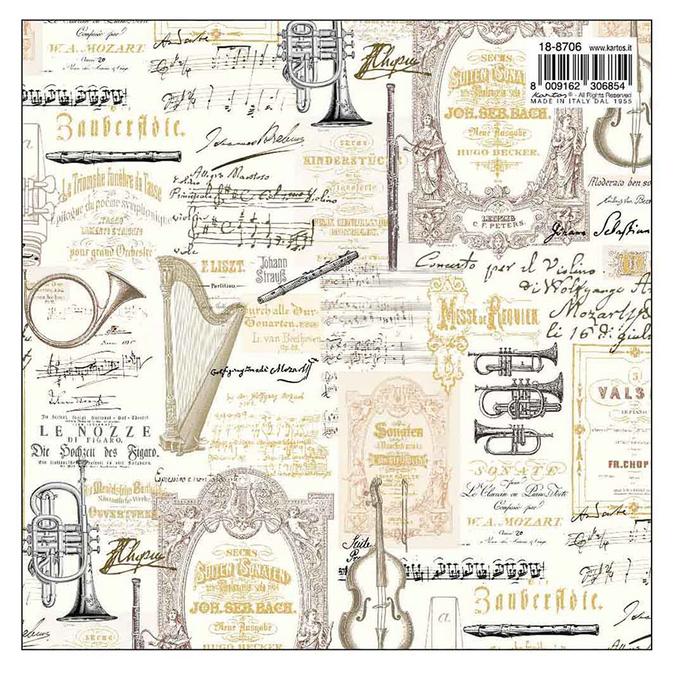 Papier italien 50 x 70 cm 85 g/m² Musique