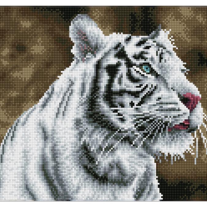 Broderie Diamant kit Squares intermédiaire Tigre blanc
