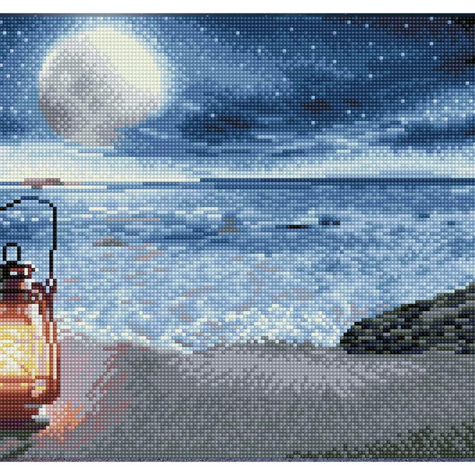 Broderie Diamant kit Squares intermédiaire Un soir en bord de mer + cadre