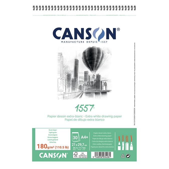 Canson 1557 grain léger 180g/m², bloc spiralé petit côté A4 - 21 x 29,7cm