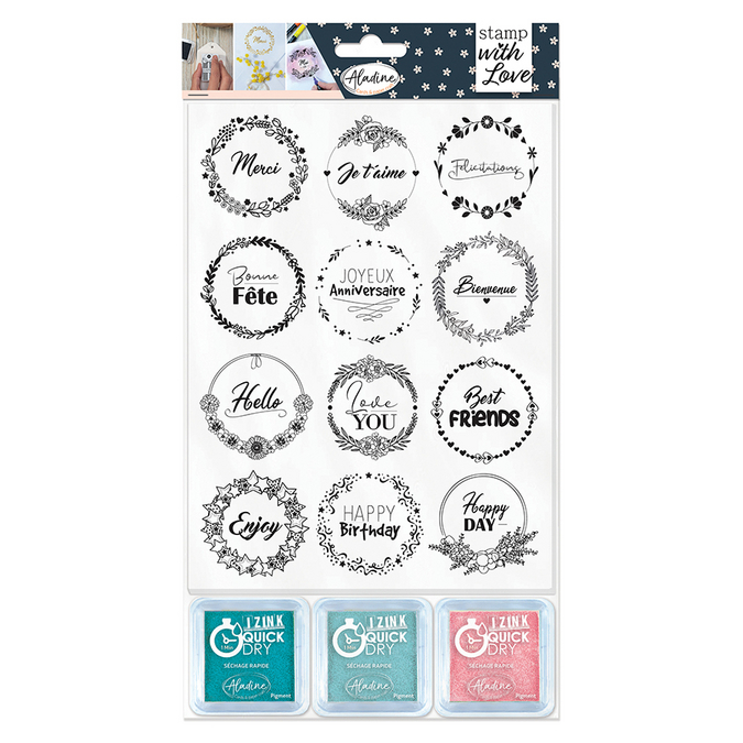 Tampon Stamp with Love Couronnes expressions