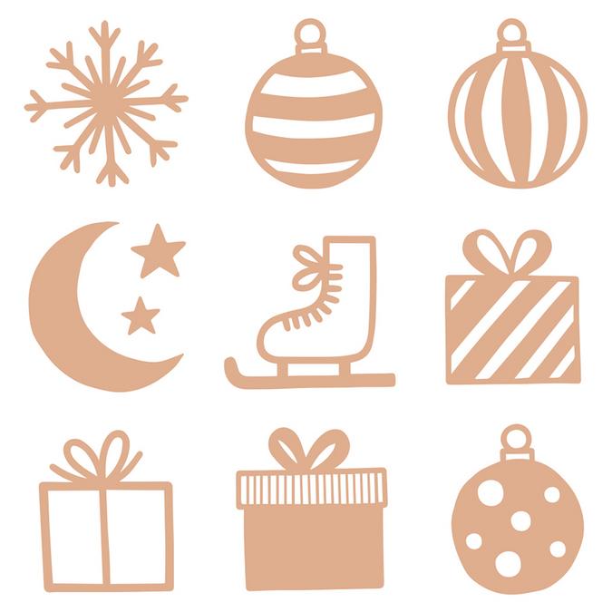 Mini silhouette en bois Imagine Christmas 27 pcs
