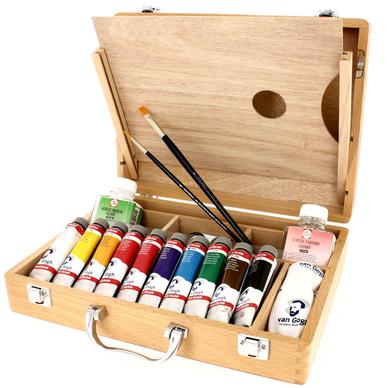 Peinture Acrylique Super Fine Coffret Bois 10 Tubes Accesoires Van Gogh Chez Rougier Ple
