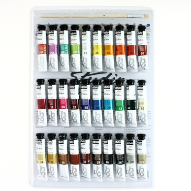 Set de 30 tubes de peinture acrylique Studio 20ml et 1 brosse Pébéo ... 9d212d21775