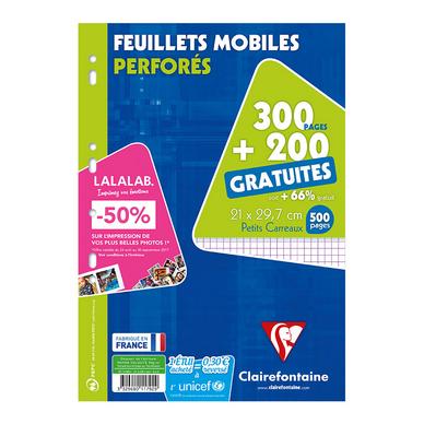 300 Feuilles Mobiles A4 Petits Carreaux